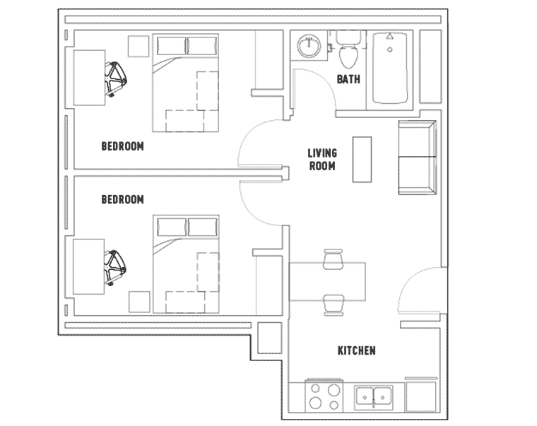 Centennial Place Student Residence: 2 Bedroom Deluxe Floorplan