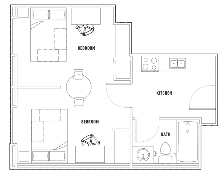 Centennial Place 2 Bedroom 1 Bathroom Shared Floor Plan