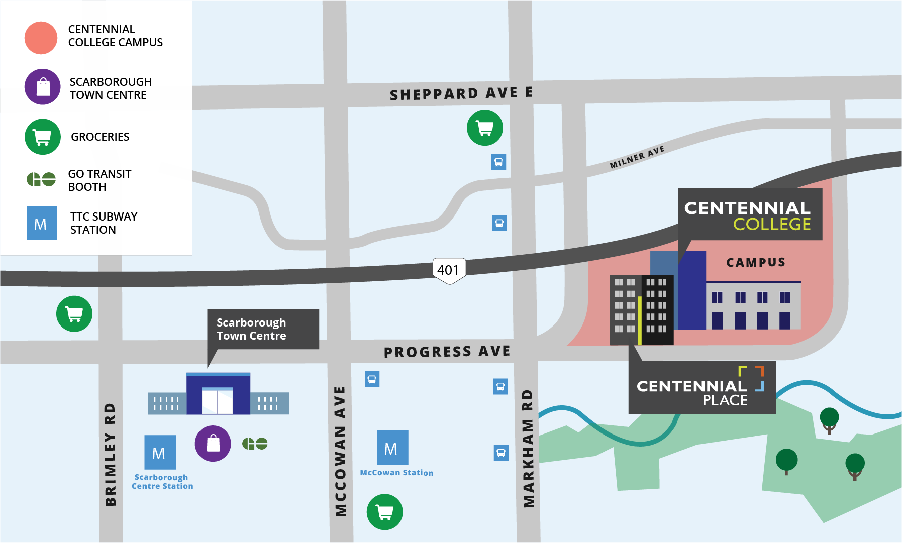 Centennial Place location map. Student living on Centennial College campus in Scarborough.